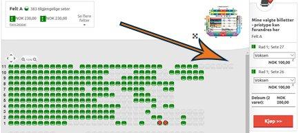 Velg setet/-ene du vil ha og velg kategori på plassen