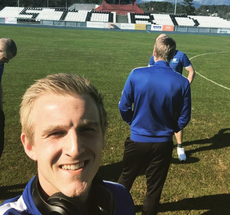 Torbjørn Agdestein tilbake der karrieren startet - på Stord. Her som FK Haugesund-spiller. Foto: Privat.