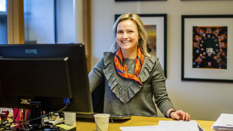 Sarah Isabella Aarøe tar gjerne en prat om AaFK! Foto: Marius Simensen
